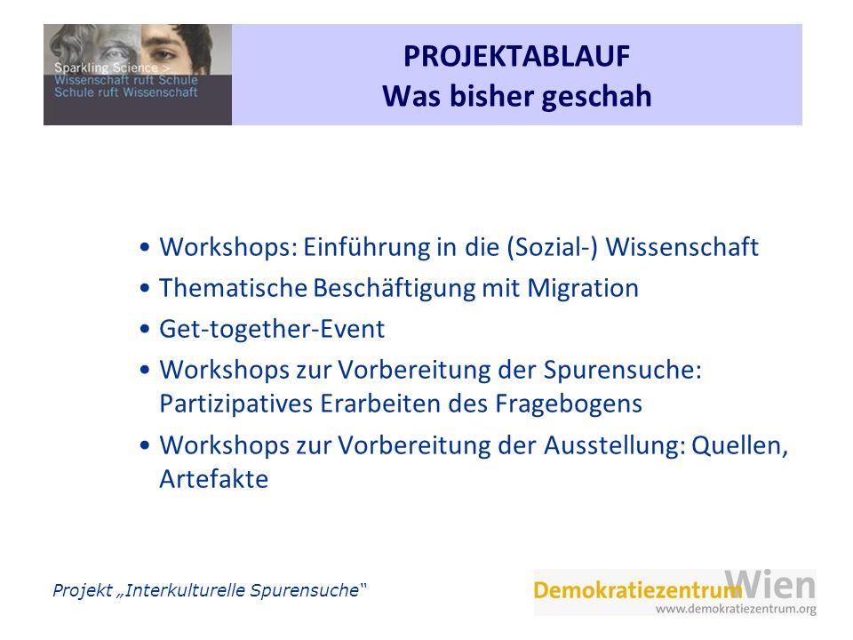 Projekt Interkulturelle Spurensuche PROJEKTABLAUF Was bisher geschah Workshops: Einführung in die (Sozial-) Wissenschaft Thematische Beschäftigung mit