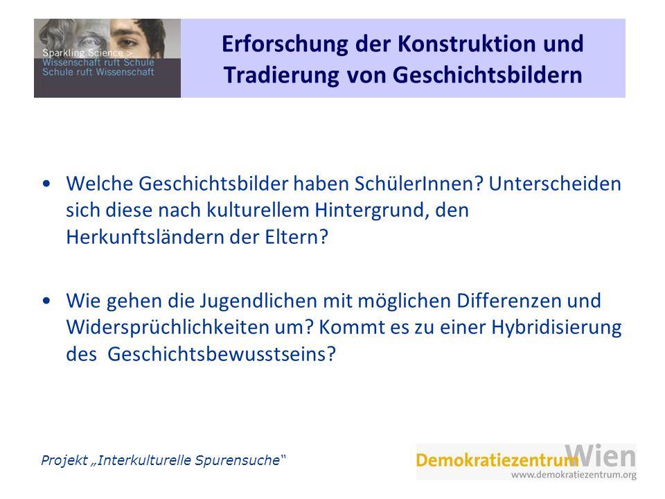 Projekt Interkulturelle Spurensuche Interkulturelle Spurensuche Durchführung der Elternbefragung Fragebogen befasste sich mit 3 Themenblöcken: Eigene Migrationserfahrungen und die der Eltern (inkl.