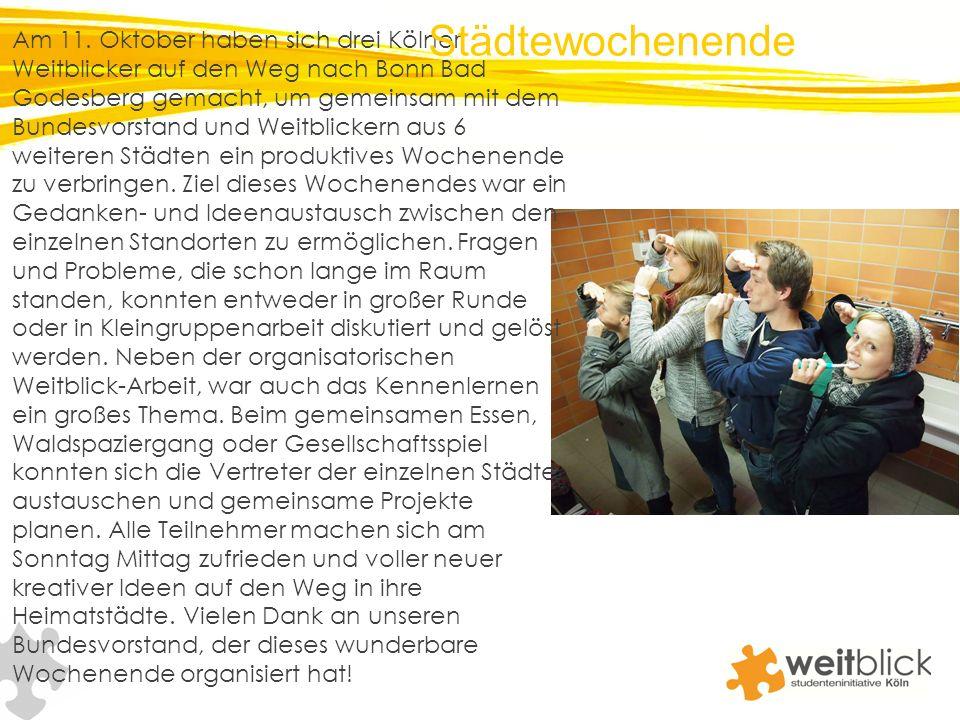 Am 11. Oktober haben sich drei Kölner Weitblicker auf den Weg nach Bonn Bad Godesberg gemacht, um gemeinsam mit dem Bundesvorstand und Weitblickern au