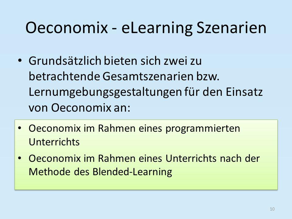 Oeconomix - eLearning Szenarien Grundsätzlich bieten sich zwei zu betrachtende Gesamtszenarien bzw. Lernumgebungsgestaltungen für den Einsatz von Oeco