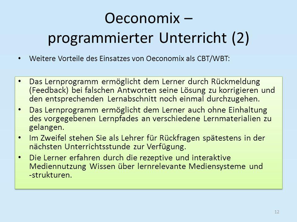 Oeconomix – programmierter Unterricht (2) Das Lernprogramm ermöglicht dem Lerner durch Rückmeldung (Feedback) bei falschen Antworten seine Lösung zu k