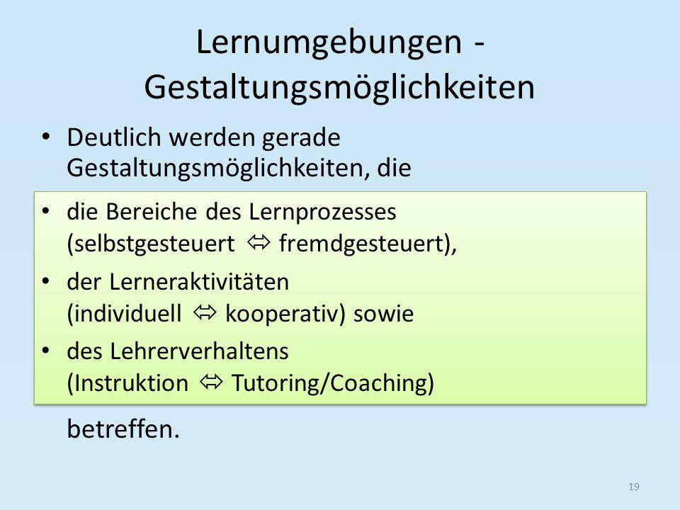 Lernumgebungen - Gestaltungsmöglichkeiten Deutlich werden gerade Gestaltungsmöglichkeiten, die betreffen. 19 die Bereiche des Lernprozesses (selbstges