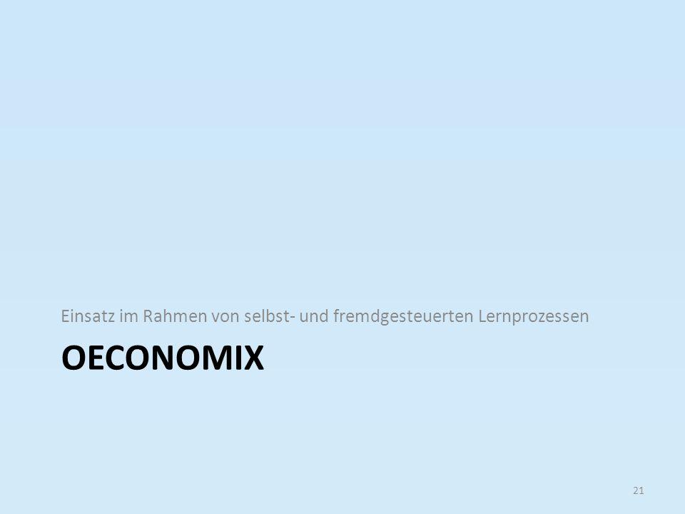 OECONOMIX Einsatz im Rahmen von selbst- und fremdgesteuerten Lernprozessen 21