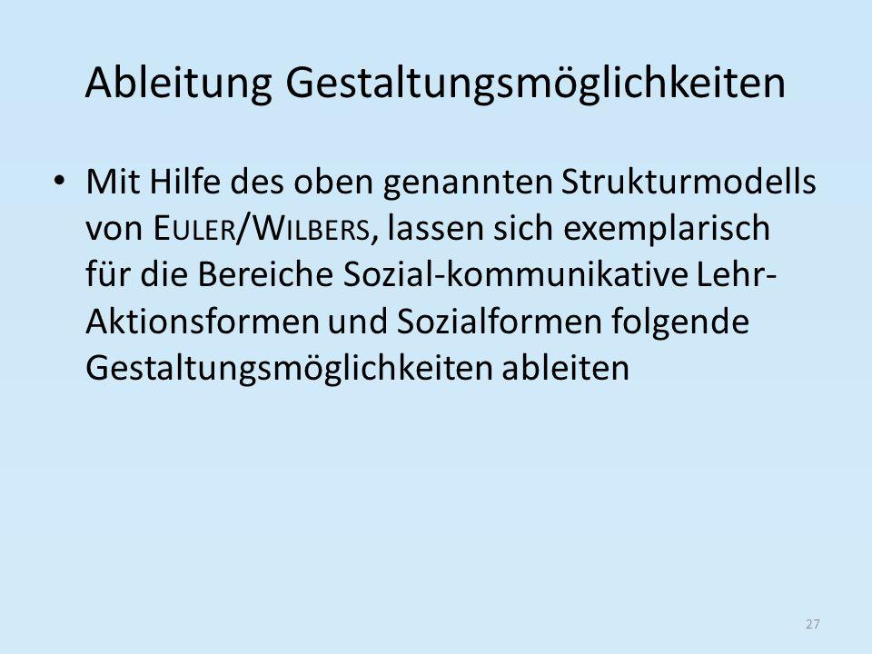 Ableitung Gestaltungsmöglichkeiten Mit Hilfe des oben genannten Strukturmodells von E ULER /W ILBERS, lassen sich exemplarisch für die Bereiche Sozial