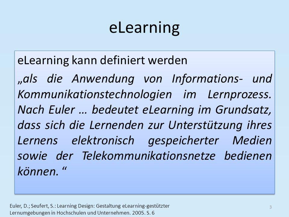 eLearning eLearning kann definiert werden als die Anwendung von Informations- und Kommunikationstechnologien im Lernprozess. Nach Euler … bedeutet eLe