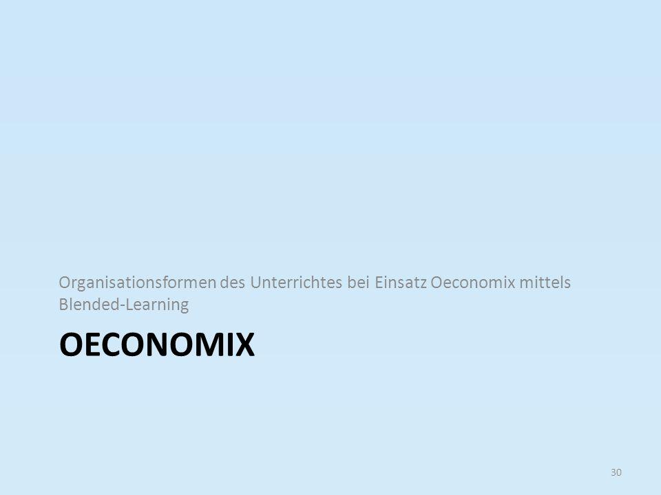 OECONOMIX Organisationsformen des Unterrichtes bei Einsatz Oeconomix mittels Blended-Learning 30
