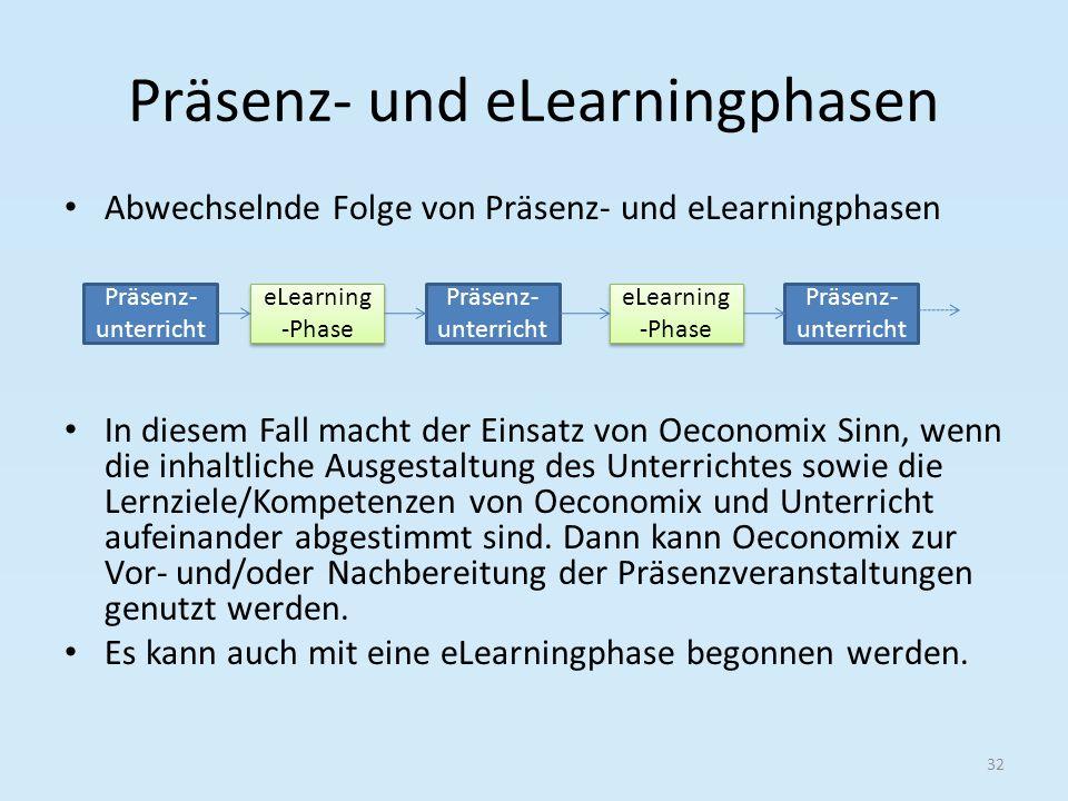 Präsenz- und eLearningphasen Abwechselnde Folge von Präsenz- und eLearningphasen In diesem Fall macht der Einsatz von Oeconomix Sinn, wenn die inhaltl