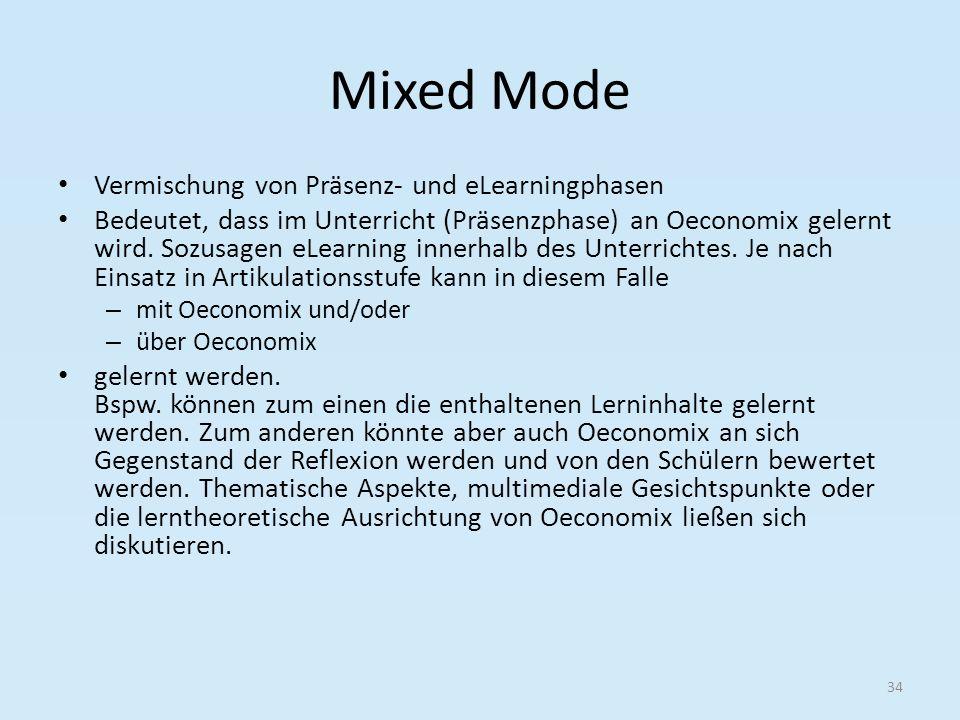Mixed Mode Vermischung von Präsenz- und eLearningphasen Bedeutet, dass im Unterricht (Präsenzphase) an Oeconomix gelernt wird. Sozusagen eLearning inn