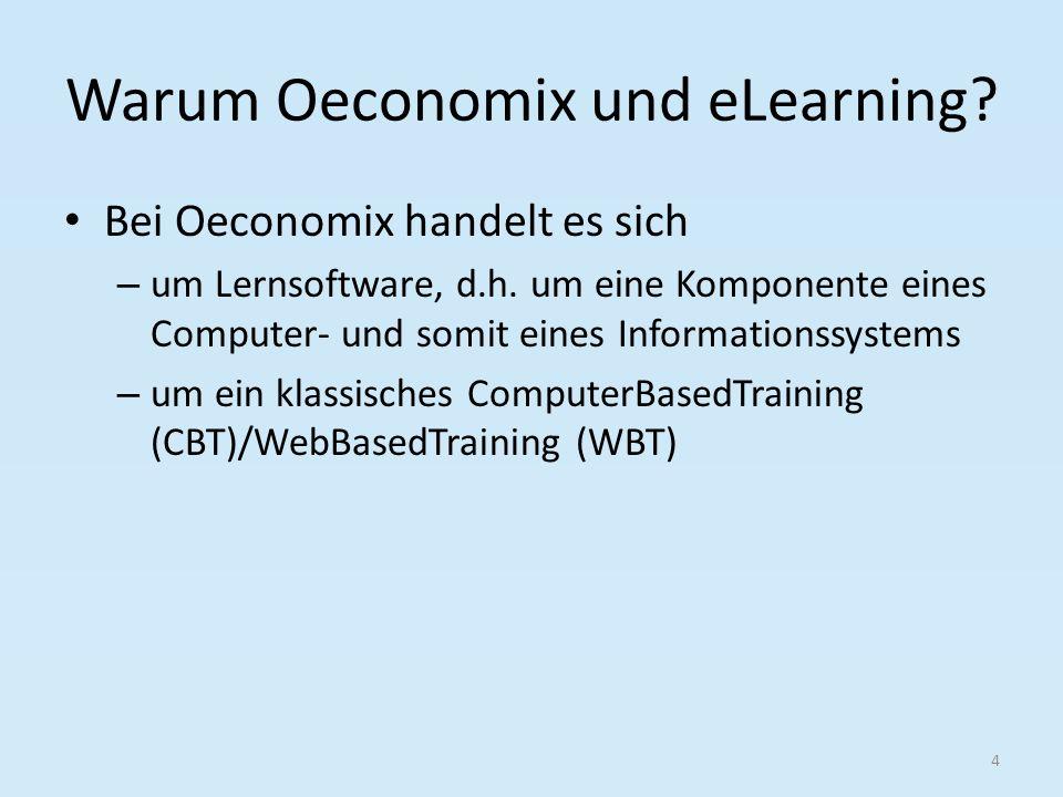 Oeconomix – Selbst- und Fremdgesteuertes Lernen 25 Auswirkung Fremd-/Selbstgesteurtes LernenEinsatz Oeconomix Oeconomix ermöglicht sowohl flexible als auch gebundene Lernzeiten Werden die Rahmenbedingungen für den Einsatzes des Mediums an sich eingehalten, ermöglicht Oeconomix sowohl den Einsatz variabler als auch den fester Lernorte Durch die vorgegebenen eigenen Lernziele der Entwickler lässt Oeconomix keine Entscheidungsfreiheit zu Durch die vorgegebenen eigenen Lerninhalte der Entwickler lässt Oeconomix keine Entscheidungsfreiheit zu Durch die vorgegebenen eigenen Lernkontrollen der Entwickler lässt Oeconomix keine Entscheidungsfreiheit zu Durch einen recht hohen Anteil interaktiver Elemente ermöglicht Oeconomix einen hohen Aktivitätsgrad des Lerners