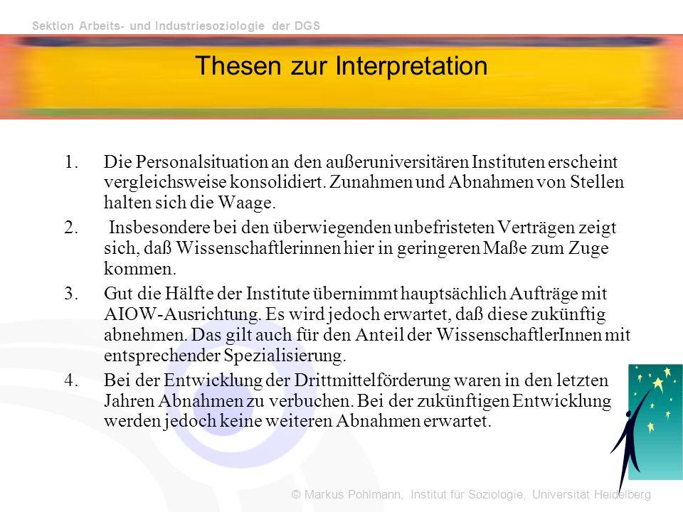 © Markus Pohlmann, Institut für Soziologie, Universität Heidelberg Sektion Arbeits- und Industriesoziologie der DGS Thesen zur Interpretation 1.Die Personalsituation an den außeruniversitären Instituten erscheint vergleichsweise konsolidiert.
