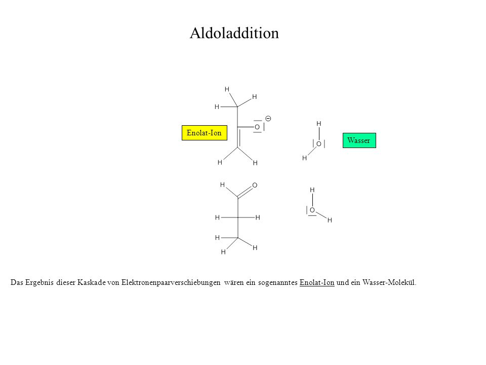 Das Ergebnis dieser Kaskade von Elektronenpaarverschiebungen wären ein sogenanntes Enolat-Ion und ein Wasser-Molekül. Enolat-Ion Aldoladdition Wasser