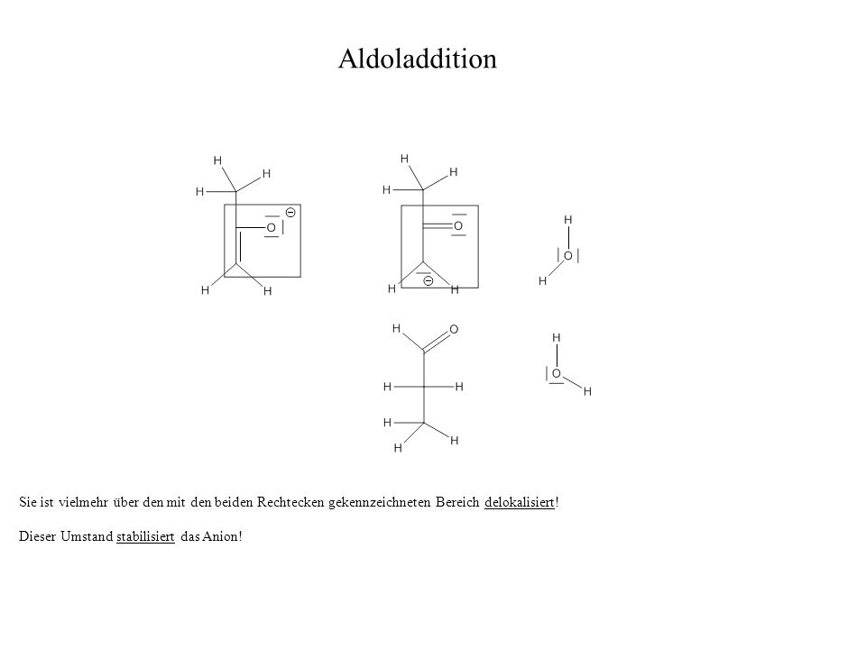 Sie ist vielmehr über den mit den beiden Rechtecken gekennzeichneten Bereich delokalisiert! Dieser Umstand stabilisiert das Anion! Aldoladdition