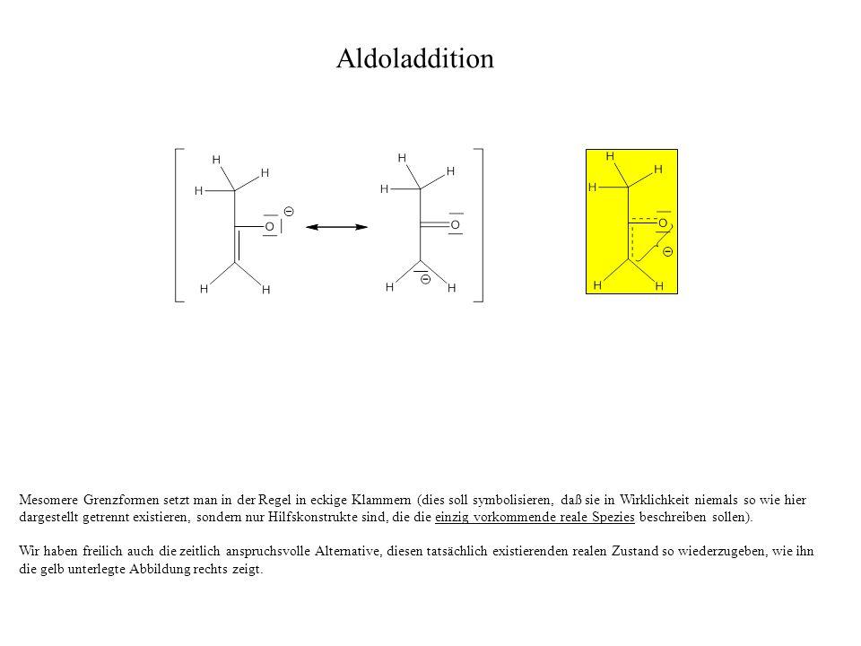 Etwas zeitsparender und somit einfacher ist es, wenn wir uns für eine der hier grün unterlegten mesomeren Grenzformen entscheiden.