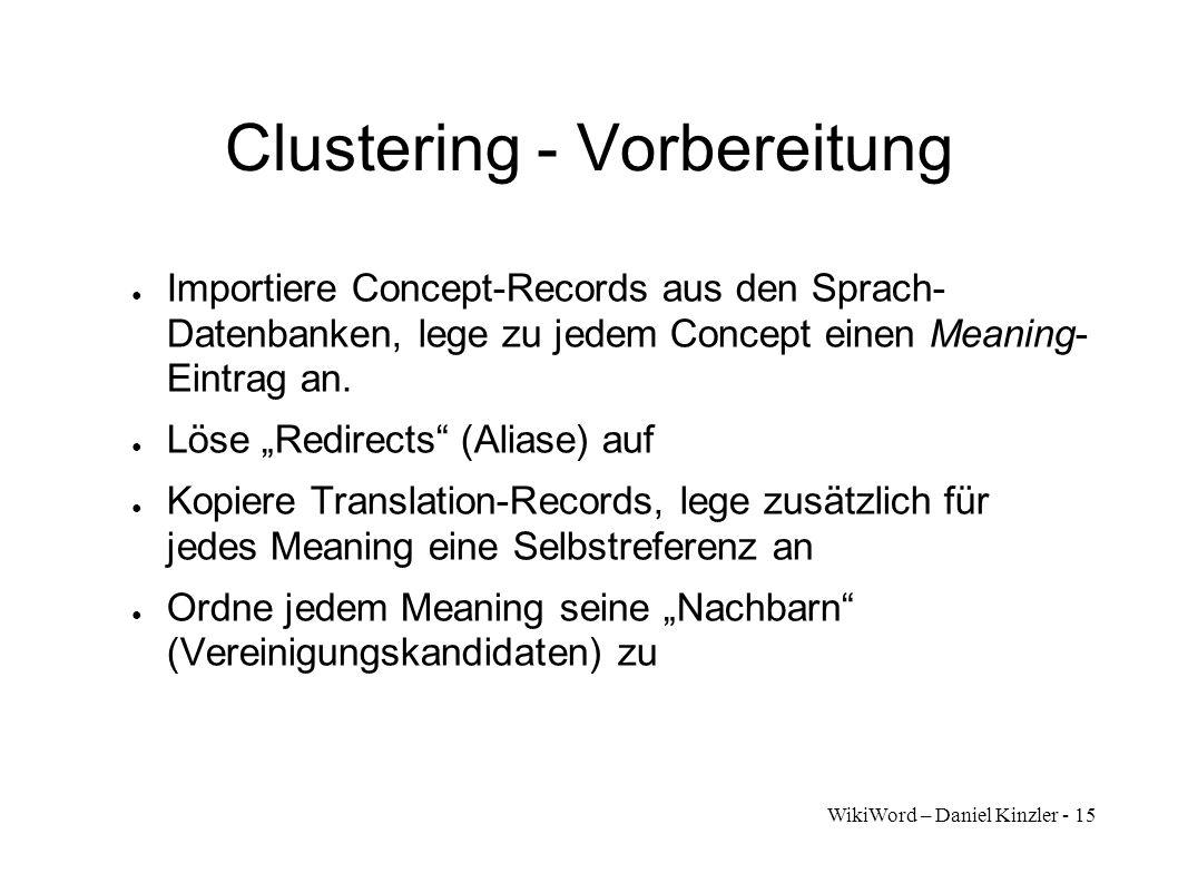 WikiWord – Daniel Kinzler - 15 Clustering - Vorbereitung Importiere Concept-Records aus den Sprach- Datenbanken, lege zu jedem Concept einen Meaning-