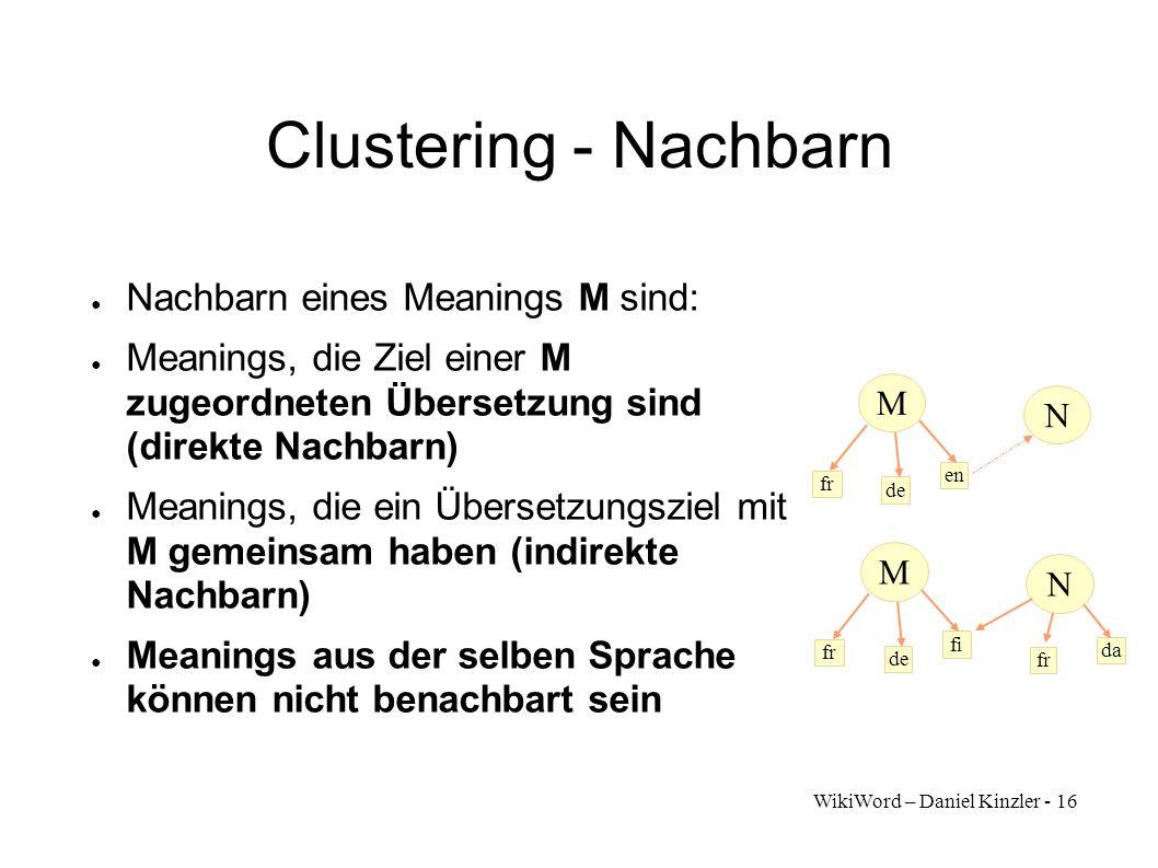 WikiWord – Daniel Kinzler - 16 Clustering - Nachbarn Nachbarn eines Meanings M sind: Meanings, die Ziel einer M zugeordneten Übersetzung sind (direkte
