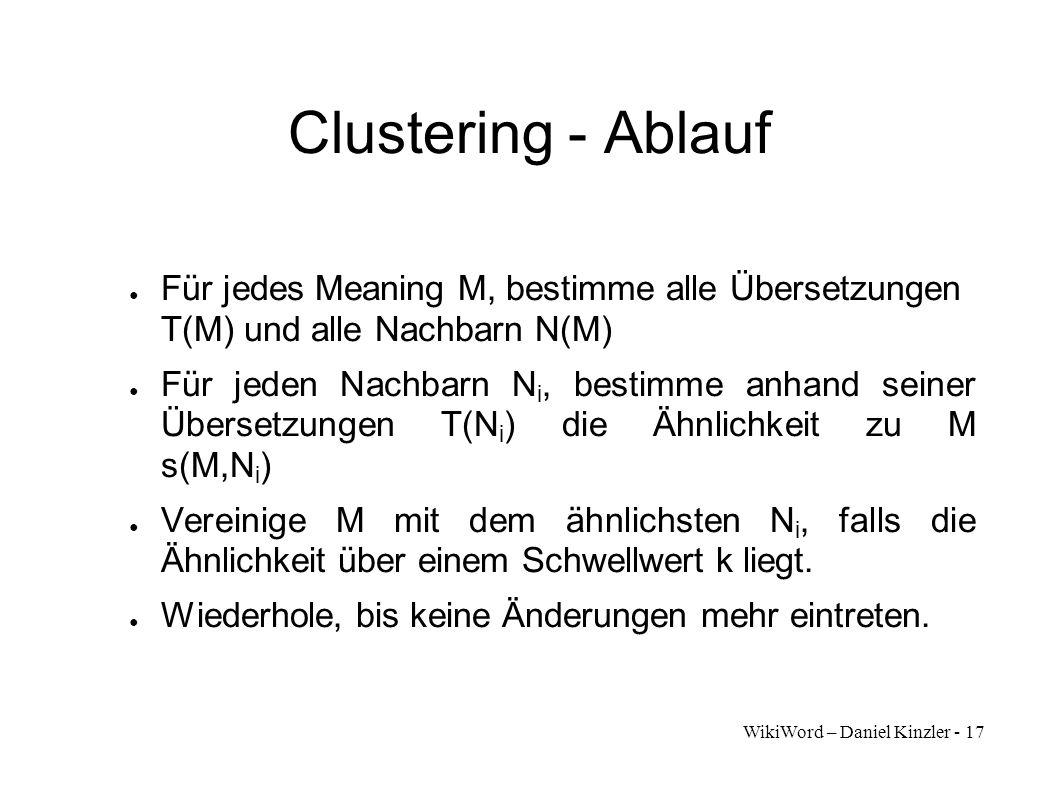 WikiWord – Daniel Kinzler - 17 Clustering - Ablauf Für jedes Meaning M, bestimme alle Übersetzungen T(M) und alle Nachbarn N(M) Für jeden Nachbarn N i