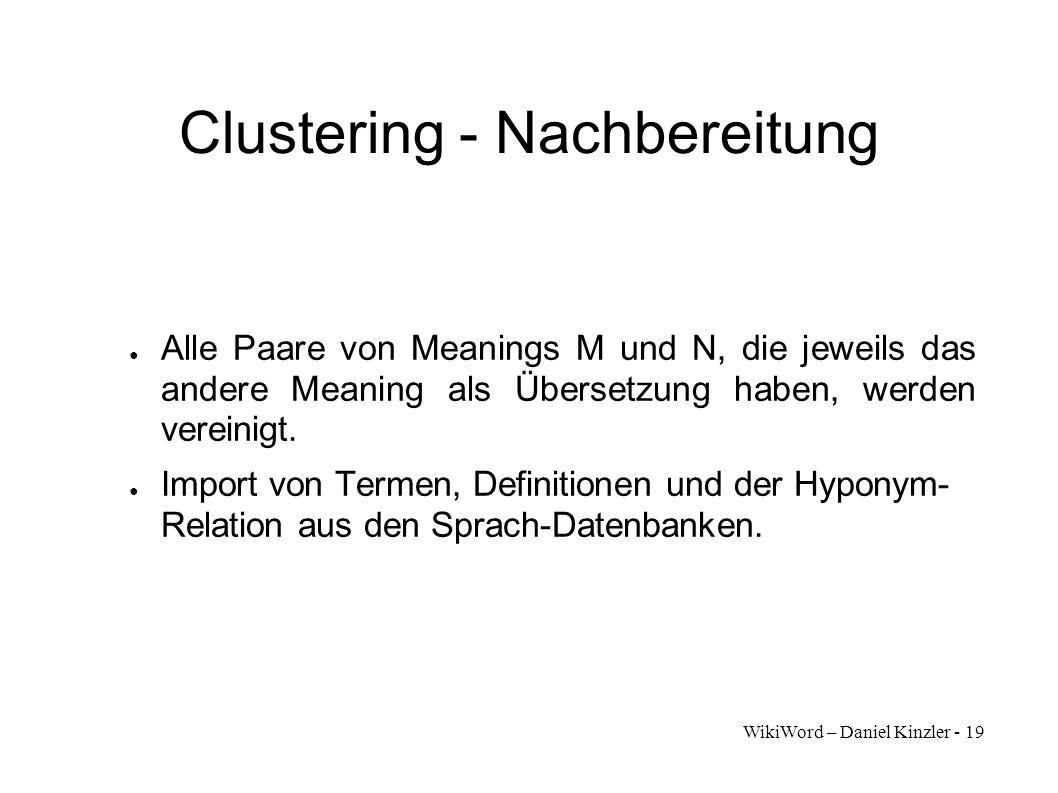 WikiWord – Daniel Kinzler - 19 Clustering - Nachbereitung Alle Paare von Meanings M und N, die jeweils das andere Meaning als Übersetzung haben, werde