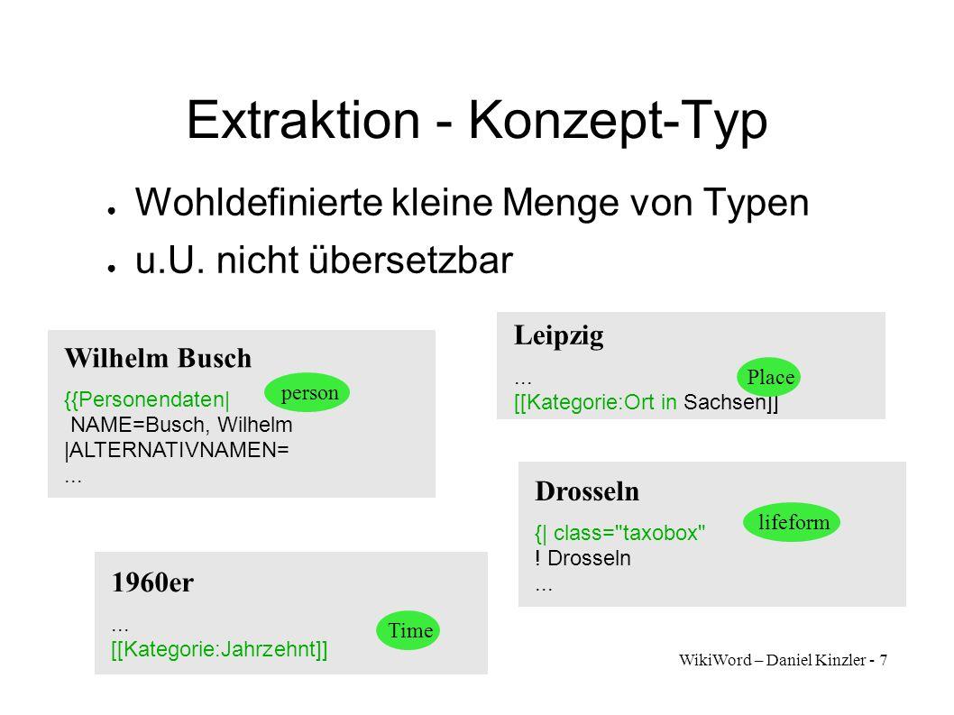 WikiWord – Daniel Kinzler - 7 Extraktion - Konzept-Typ Wohldefinierte kleine Menge von Typen u.U. nicht übersetzbar Leipzig... [[Kategorie:Ort in Sach