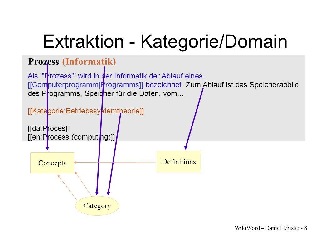 WikiWord – Daniel Kinzler - 9 Extraktion - Bedeutungen Prozess (Informatik) Als Prozess wird in der Informatik der Ablauf eines [[Computerprogramm|Programms]] bezeichnet.