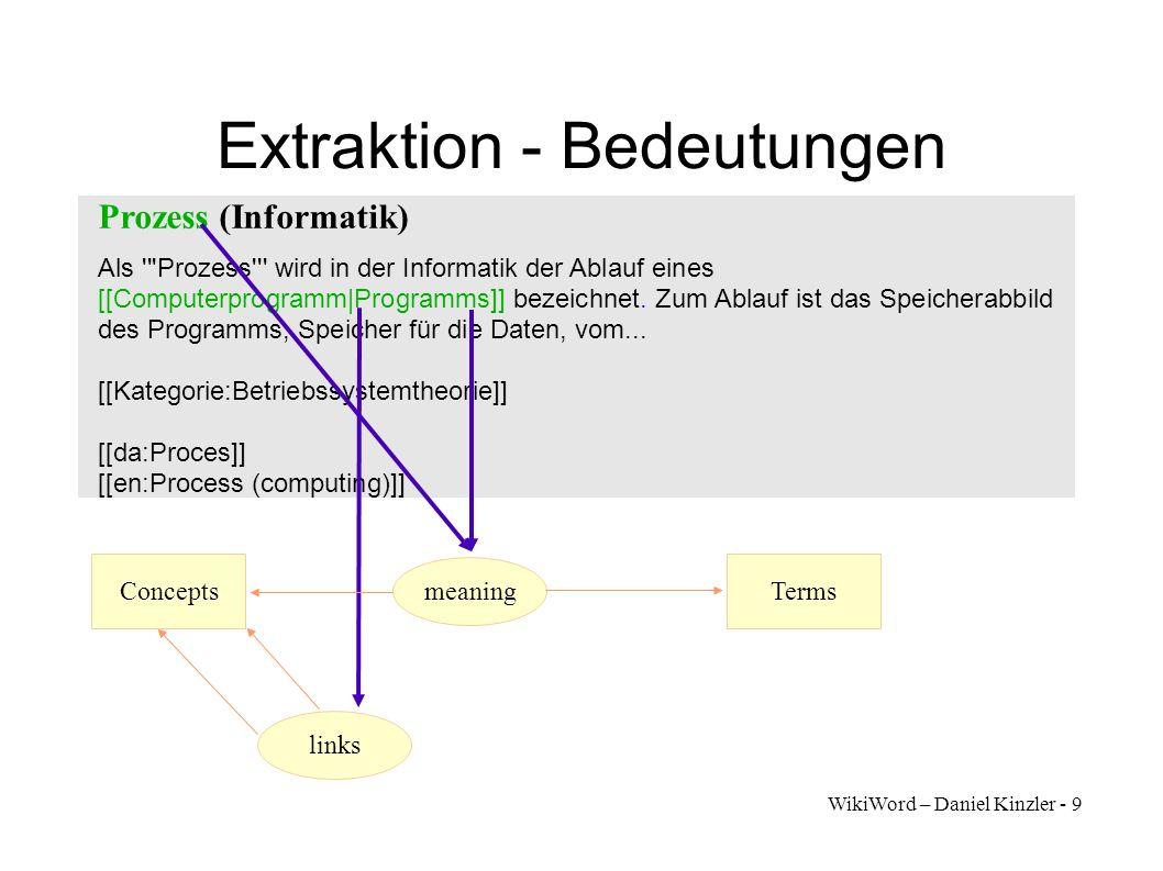 WikiWord – Daniel Kinzler - 10 Extraktion - Übersetzungen Prozess (Informatik) Als Prozess wird in der Informatik der Ablauf eines [[Computerprogramm|Programms]] bezeichnet.