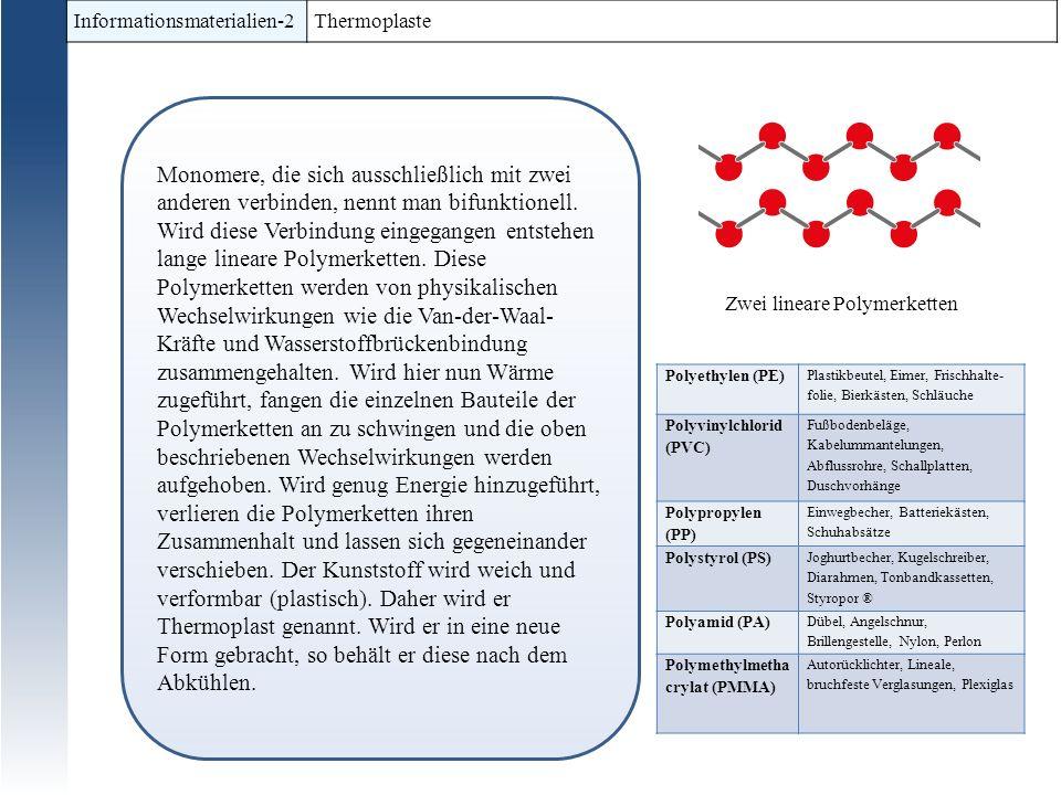 Informationsmaterialien-2 Thermoplaste Monomere, die sich ausschließlich mit zwei anderen verbinden, nennt man bifunktionell.