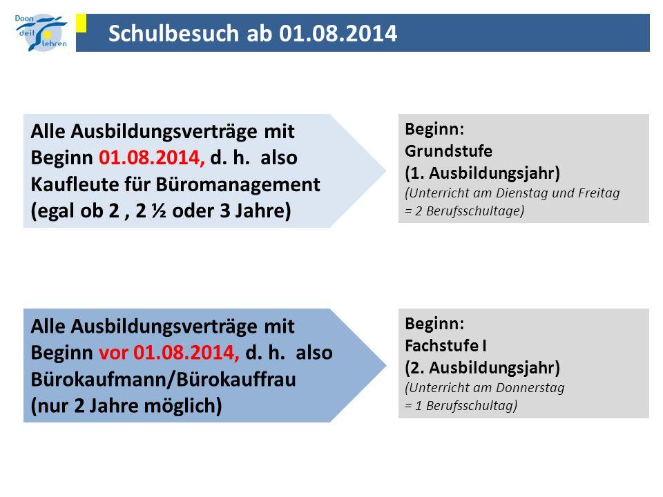Schulbesuch ab 01.08.2014 Alle Ausbildungsverträge mit Beginn 01.08.2014, d. h. also Kaufleute für Büromanagement (egal ob 2, 2 ½ oder 3 Jahre) Beginn