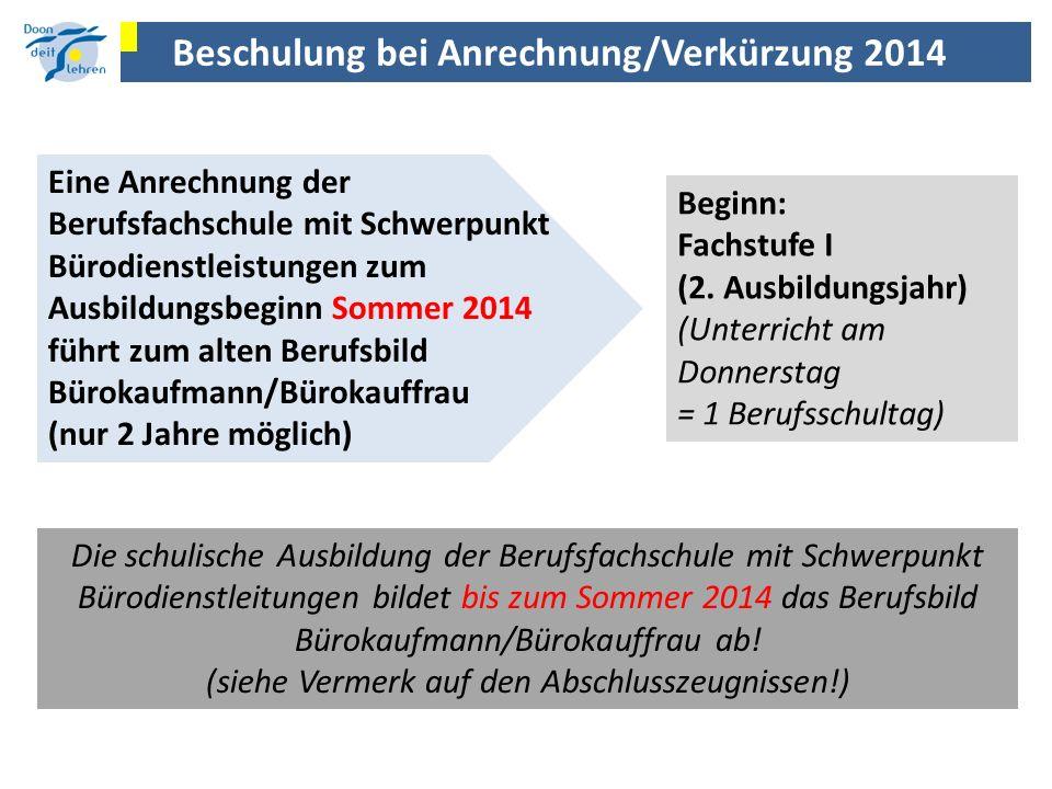 Beschulung bei Anrechnung/Verkürzung 2014 Eine Anrechnung der Berufsfachschule mit Schwerpunkt Bürodienstleistungen zum Ausbildungsbeginn Sommer 2014