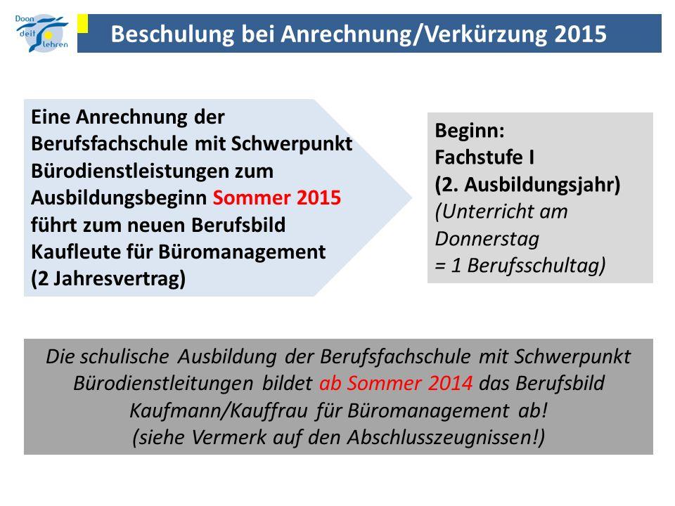 Beschulung bei Anrechnung/Verkürzung 2015 Eine Anrechnung der Berufsfachschule mit Schwerpunkt Bürodienstleistungen zum Ausbildungsbeginn Sommer 2015
