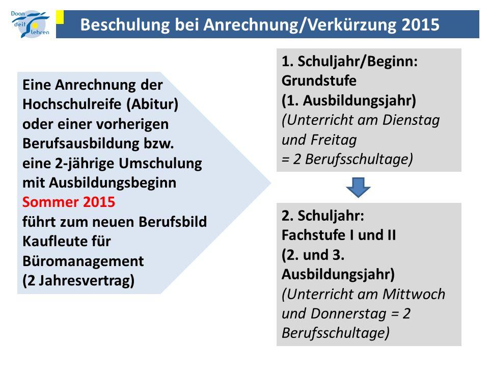 Beschulung bei Anrechnung/Verkürzung 2015 Eine Anrechnung der Hochschulreife (Abitur) oder einer vorherigen Berufsausbildung bzw. eine 2-jährige Umsch