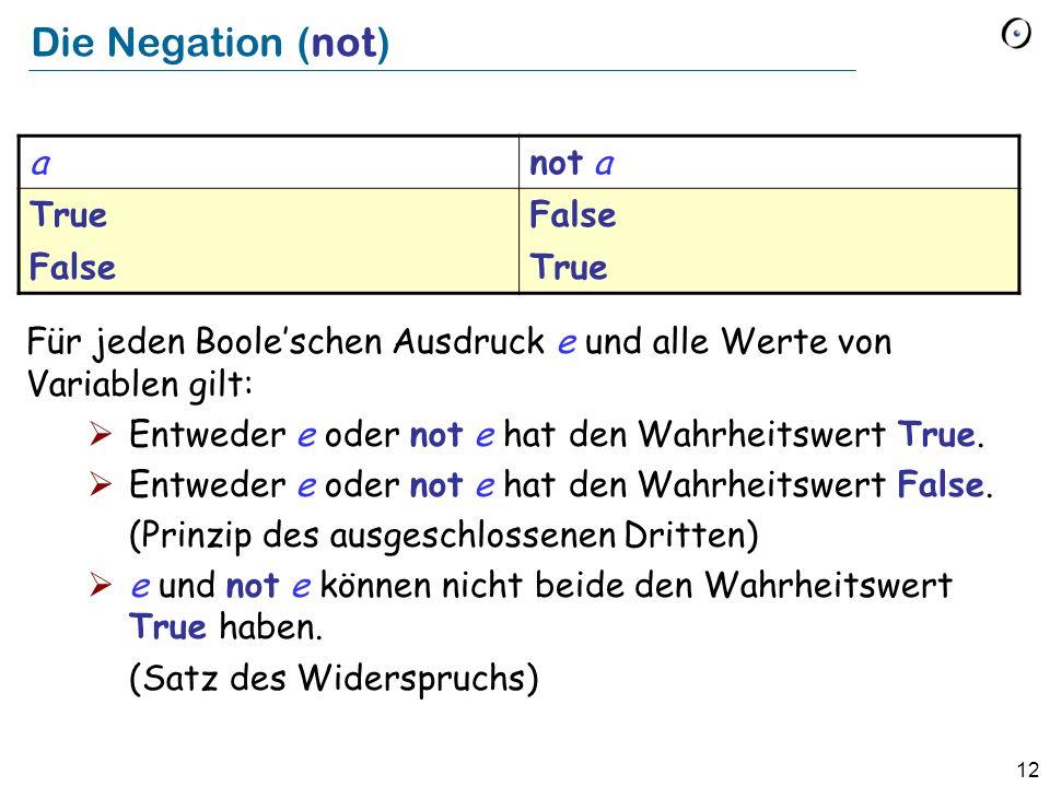 12 Die Negation (not) Für jeden Booleschen Ausdruck e und alle Werte von Variablen gilt: Entweder e oder not e hat den Wahrheitswert True. Entweder e