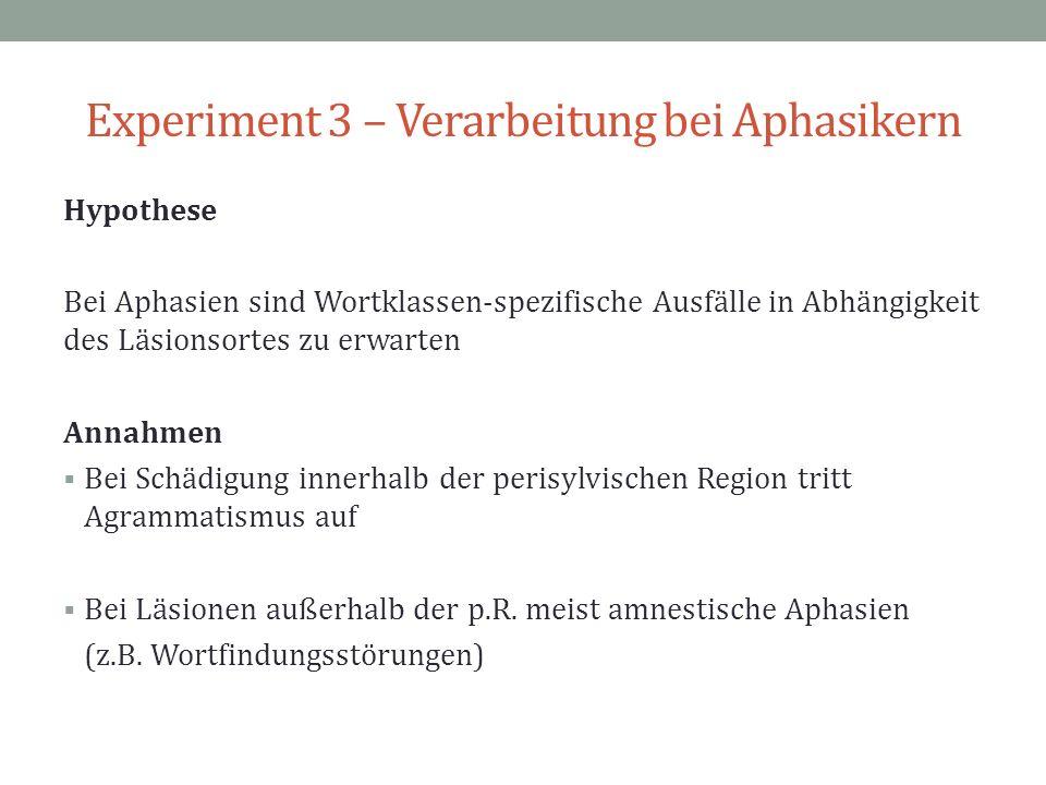 Experiment 3 – Verarbeitung bei Aphasikern Hypothese Bei Aphasien sind Wortklassen-spezifische Ausfälle in Abhängigkeit des Läsionsortes zu erwarten A