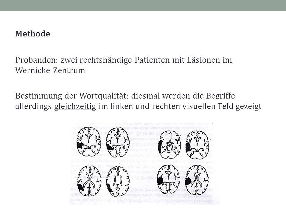 Methode Probanden: zwei rechtshändige Patienten mit Läsionen im Wernicke-Zentrum Bestimmung der Wortqualität: diesmal werden die Begriffe allerdings g