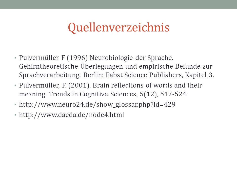Quellenverzeichnis Pulvermüller F (1996) Neurobiologie der Sprache. Gehirntheoretische Überlegungen und empirische Befunde zur Sprachverarbeitung. Ber