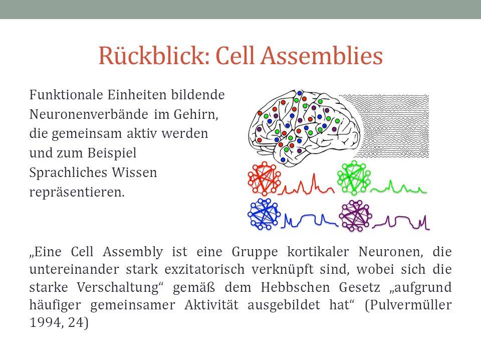 Rückblick: Cell Assemblies Funktionale Einheiten bildende Neuronenverbände im Gehirn, die gemeinsam aktiv werden und zum Beispiel Sprachliches Wissen