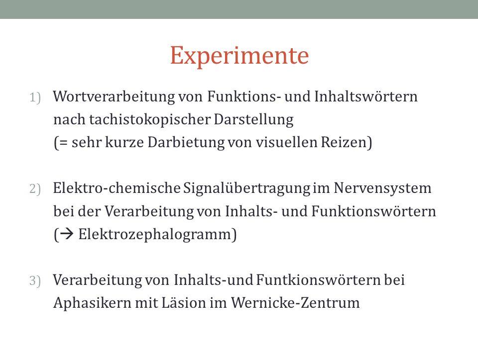 Experimente 1) Wortverarbeitung von Funktions- und Inhaltswörtern nach tachistokopischer Darstellung (= sehr kurze Darbietung von visuellen Reizen) 2)