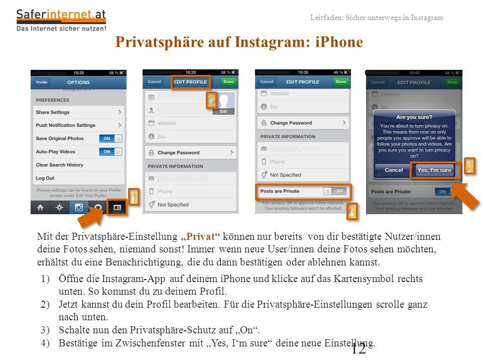12 Leitfaden: Sicher unterwegs in Instagram Privatsphäre auf Instagram: iPhone Mit der Privatsphäre-Einstellung Privat können nur bereits von dir best