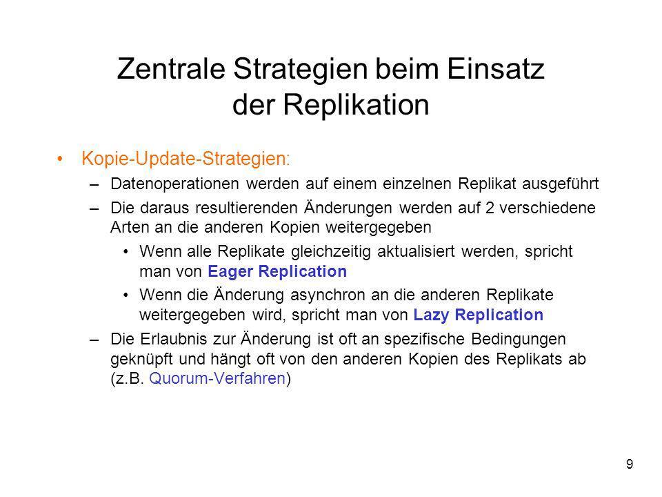 9 Zentrale Strategien beim Einsatz der Replikation Kopie-Update-Strategien: –Datenoperationen werden auf einem einzelnen Replikat ausgeführt –Die dara