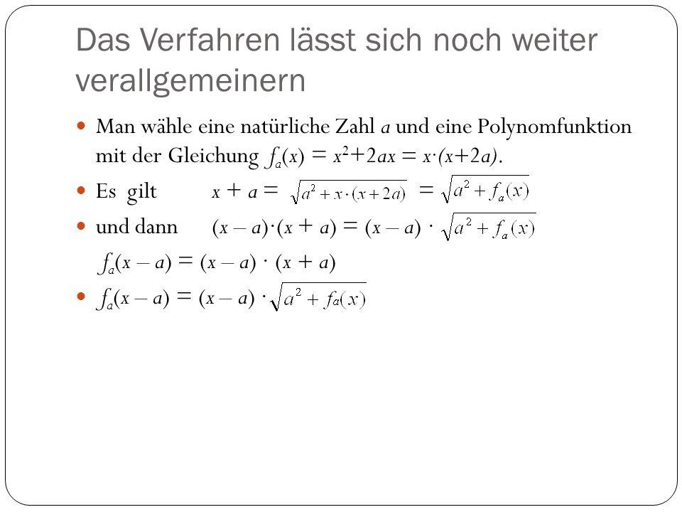 Das Verfahren lässt sich noch weiter verallgemeinern Man wähle eine natürliche Zahl a und eine Polynomfunktion mit der Gleichung f a (x) = x 2 +2ax =