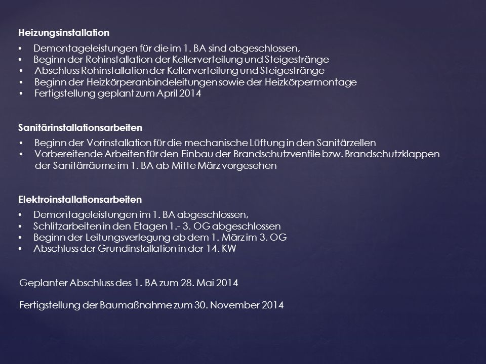 Heizungsinstallation Demontageleistungen für die im 1.