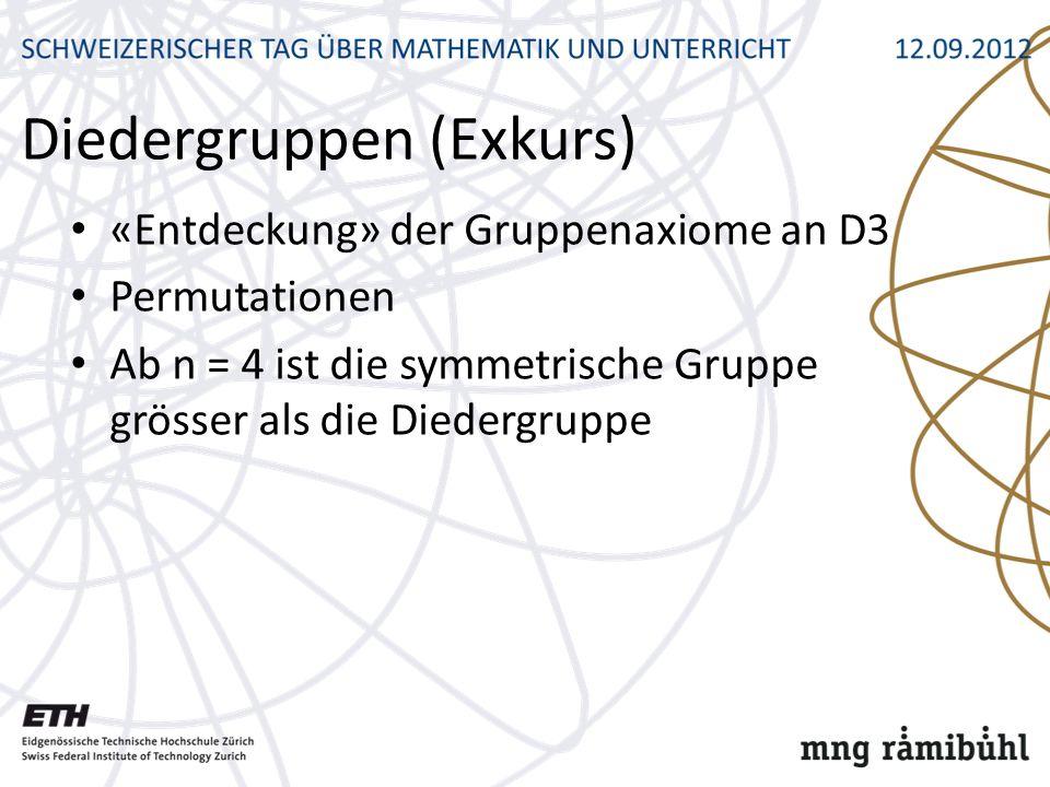 Diedergruppen (Exkurs) «Entdeckung» der Gruppenaxiome an D3 Permutationen Ab n = 4 ist die symmetrische Gruppe grösser als die Diedergruppe