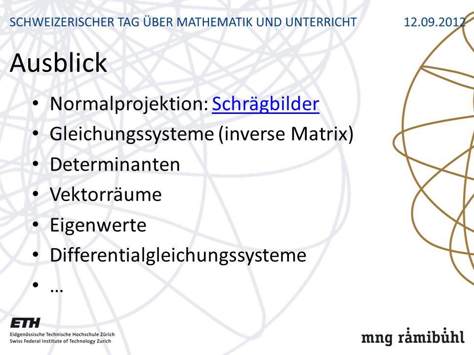 Ausblick Normalprojektion: SchrägbilderSchrägbilder Gleichungssysteme (inverse Matrix) Determinanten Vektorräume Eigenwerte Differentialgleichungssysteme …