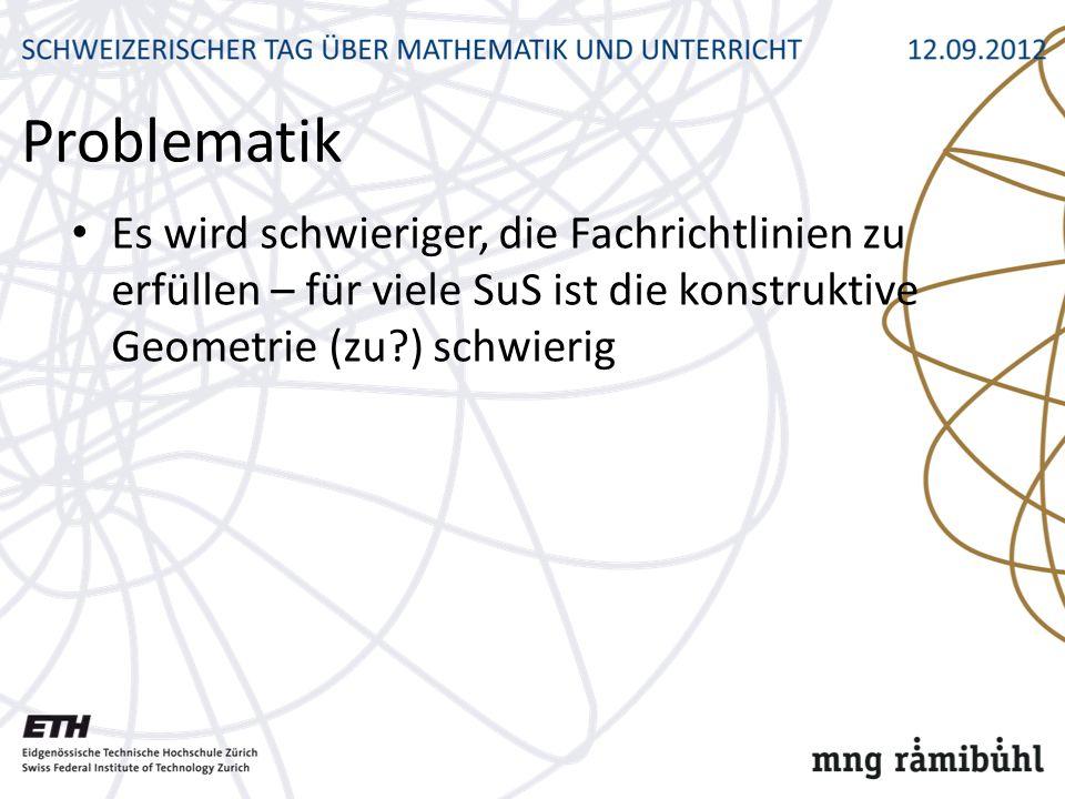 Problematik Es wird schwieriger, die Fachrichtlinien zu erfüllen – für viele SuS ist die konstruktive Geometrie (zu?) schwierig