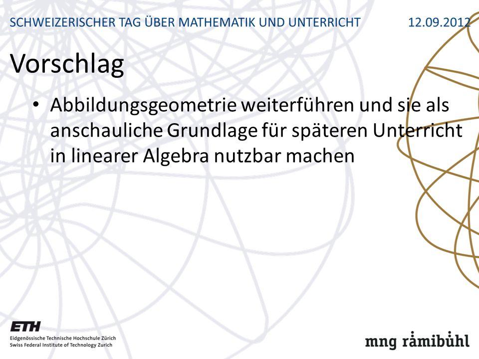Vorschlag Abbildungsgeometrie weiterführen und sie als anschauliche Grundlage für späteren Unterricht in linearer Algebra nutzbar machen