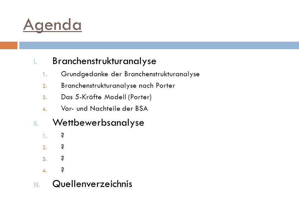 Agenda I. Branchenstrukturanalyse 1. Grundgedanke der Branchenstrukturanalyse 2. Branchenstrukturanalyse nach Porter 3. Das 5-Kräfte Modell (Porter) 4