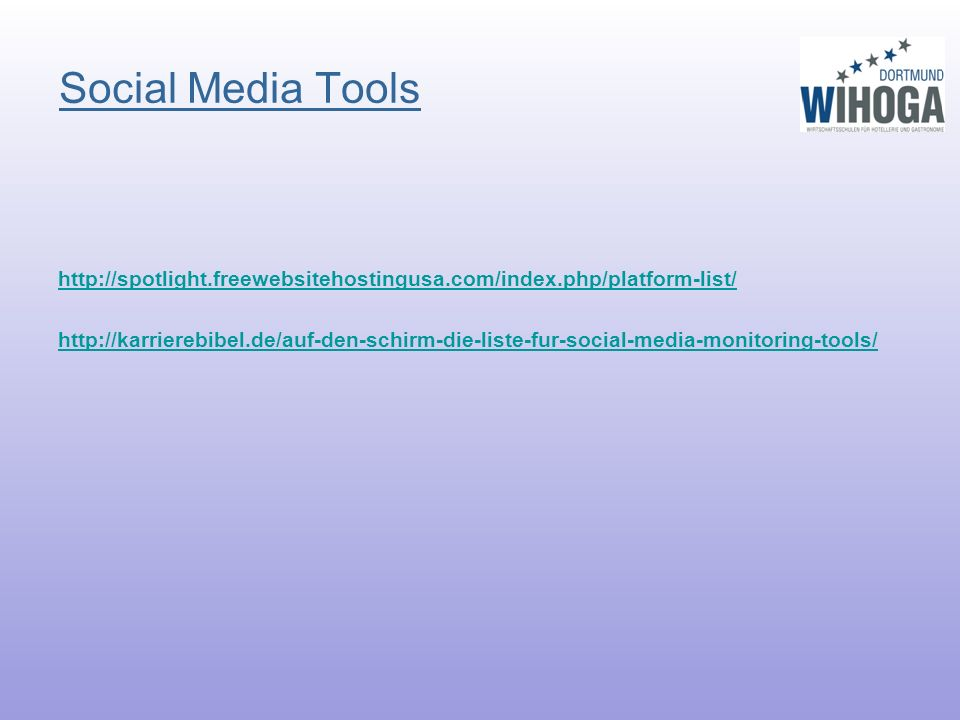 Social Media Tools http://spotlight.freewebsitehostingusa.com/index.php/platform-list/ http://karrierebibel.de/auf-den-schirm-die-liste-fur-social-media-monitoring-tools/