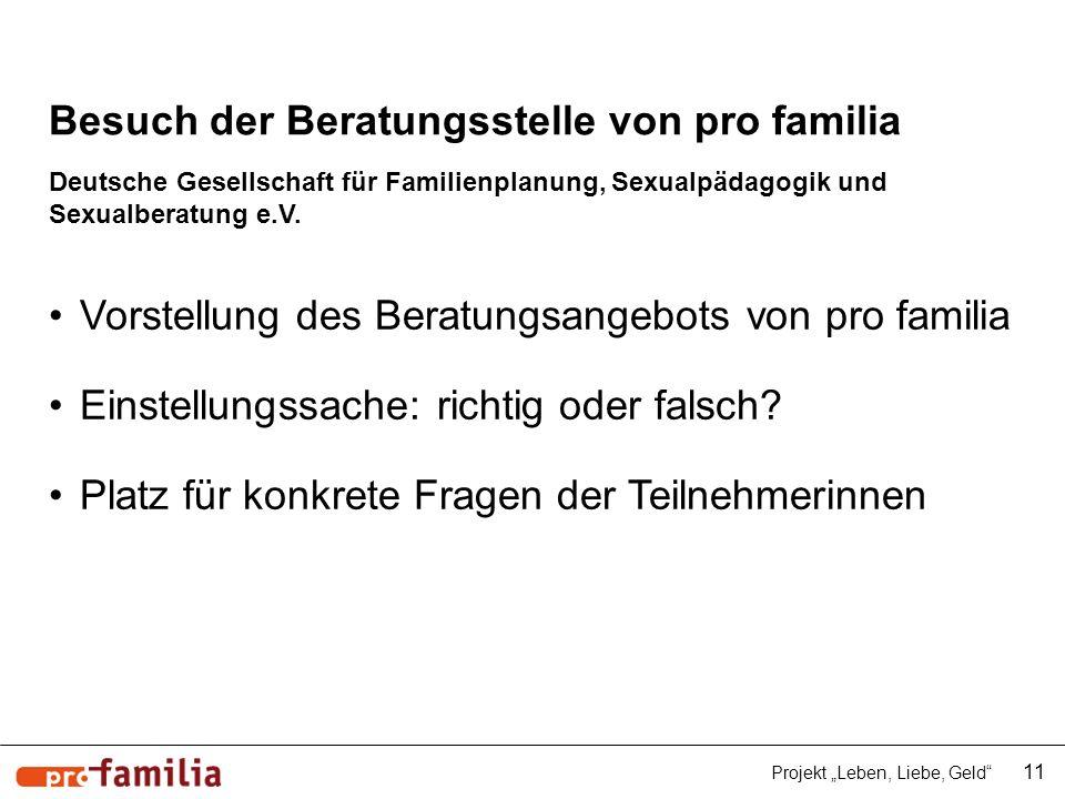 Besuch der Beratungsstelle von pro familia Deutsche Gesellschaft für Familienplanung, Sexualpädagogik und Sexualberatung e.V. 11 Projekt Leben, Liebe,