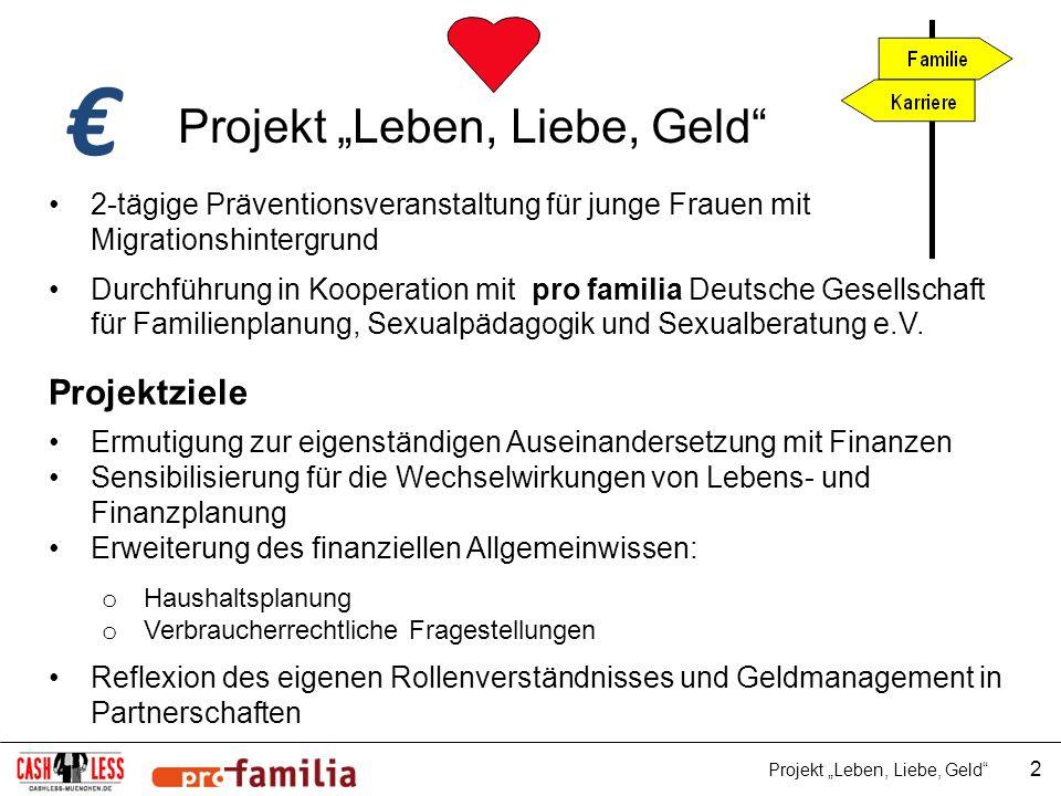 Projekt Leben, Liebe, Geld 2-tägige Präventionsveranstaltung für junge Frauen mit Migrationshintergrund Durchführung in Kooperation mit pro familia De