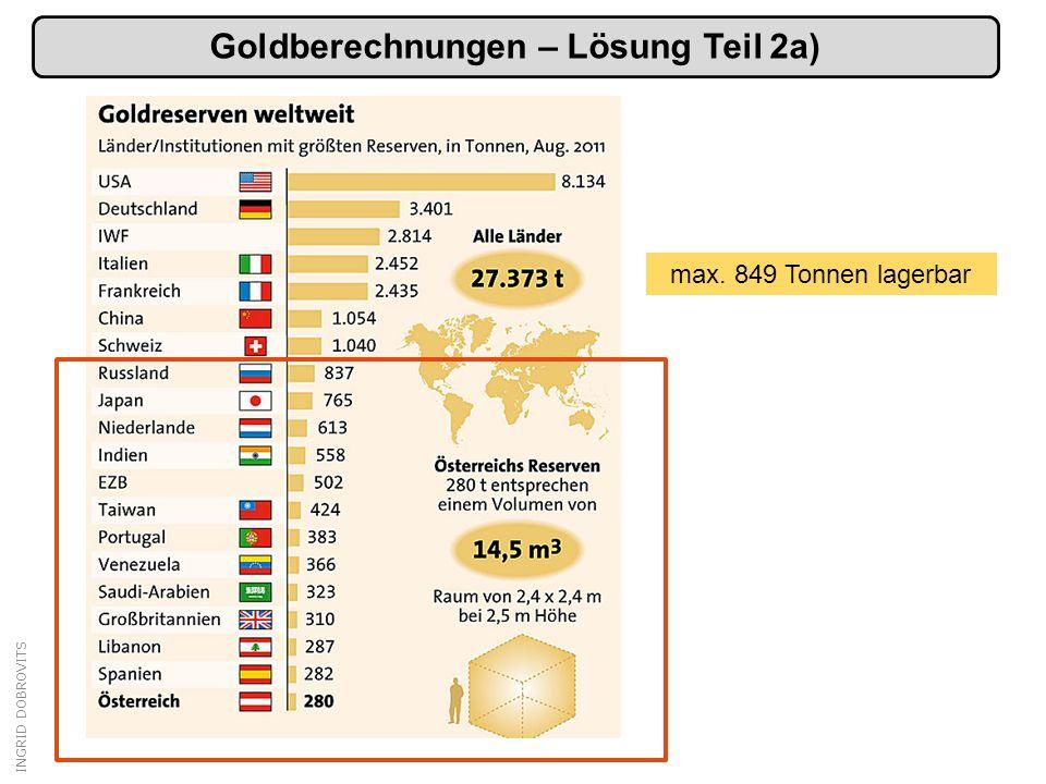INGRID DOBROVITS Goldberechnungen – Lösung Teil 2a) max. 849 Tonnen lagerbar
