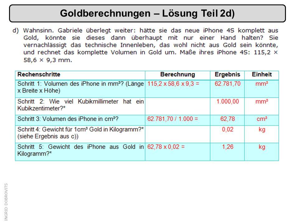 INGRID DOBROVITS Goldberechnungen – Lösung Teil 2d)