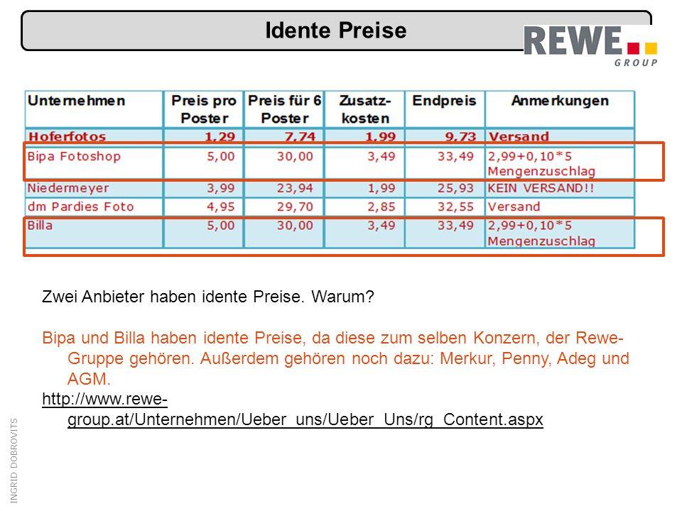 INGRID DOBROVITS Idente Preise Zwei Anbieter haben idente Preise.